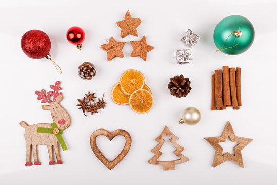 christmas decorations isolated on white background. top view