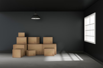 3D rendering : illustration of moving boxes at a new office.new home.Interior moving house with cardboard boxes.light from outside of the window