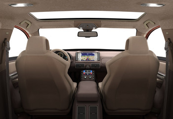 Front view dashboard of modern brand new car with windows 3d ren