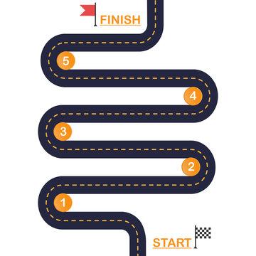 Winding road Template diagram steps.Vector EPS 10