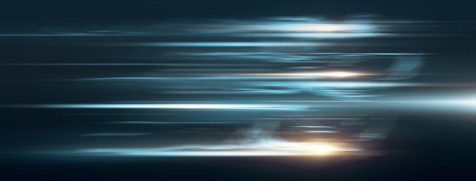 Light and stripes moving fast over dark background. 3d Illustration