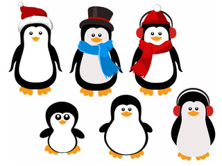 Cute cartoon penguin family. Christmas character set
