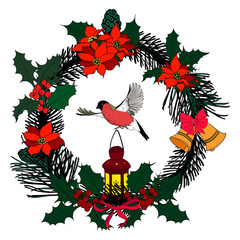 Illustration of the Christmas wreath: spruce/fir twigs, holly, flowers, bells with a bullfinch and lantern. Multicolor elements on a white background. The wreath, bullfinch and lantern are isolated.