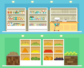 Shop interior with shelves grocery and vegetables, drinks other foods vector