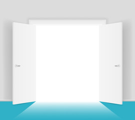 White open doors isolated vector illustration