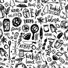 Turkish food hand drawn seamless pattern with lettering and beverages with Kebab, Dolma, Shakshuka. Freehand vector doodles isolated on white background