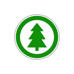 YES! Vector. Christmas tree sign. The icon with a red sign on a white background. For any use. Warns.  Vector illustration.