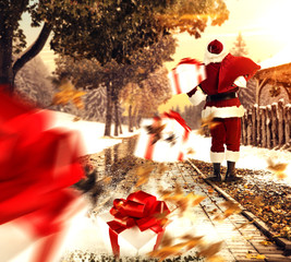 santa claus on street and gifts