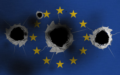 European flag with bullet holes