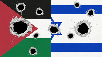 Palestine and Israel flags perforated by bullet holes