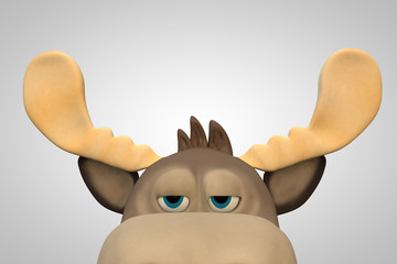 Cute bored moose cartoon animal 3d illustration