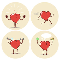 Heart and a healthy lifestyle, a set of different positions. Vector cartoon icons