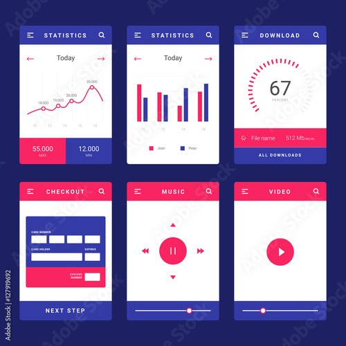 """""""UI, UX and GUI template layout for Mobile Apps. Statistic"""