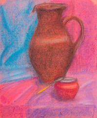 still-life with red-brown jug and red jar