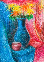 bouquet of flowers in blue vase and red jar