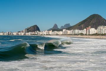 Waves in Copacabana Beach, Rio de Janeiro, Brazil