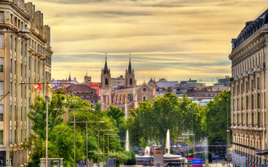 View towards San Jeronimo el Real Church in Madrid
