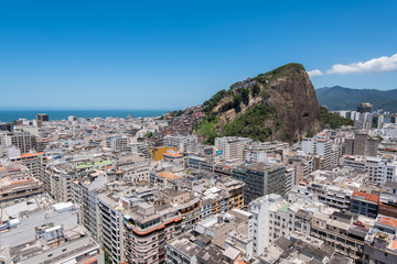 Aerial view of Copacabana district and Slum on the Mountain in Rio de Janeiro, Brazil