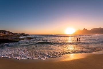 Beautiful Sunset in Ipanema Beach, Rio de Janeiro