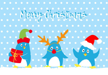 Merry christmas vector card with cute penguins