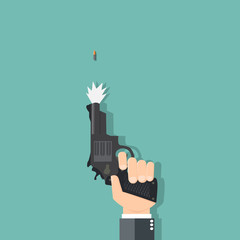 Business hand holding a gun - vector illustration