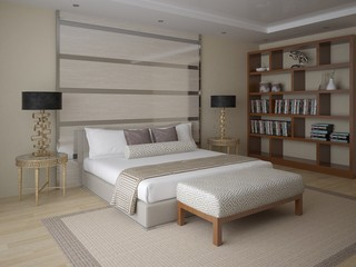 Modern stylish bedroom with a comfortable bed fashion.