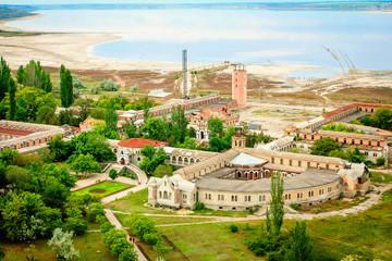 Odessa, Ukraine, the estuary Kuyalnik, hospital, top, and salty sea