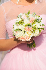Bride in Pink with Flowers
