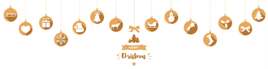 Christmas card with hanging gold baubles and decorations