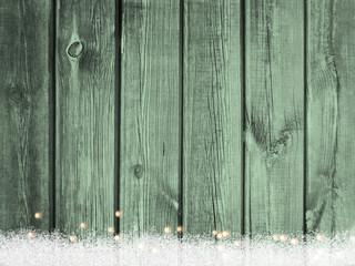 Weihnachten Holz Schnee Lichter Hintergrund hell gruen