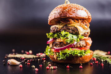 Juicy delicious burger with spices on a black background Wall mural