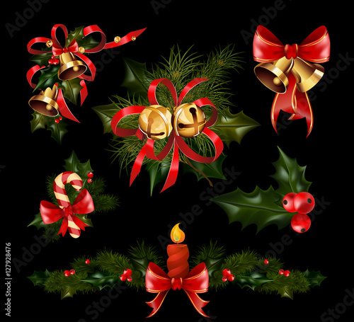 """Christmas Tree Decoration Elements: """"Christmas Decorations With Fir Tree And Decorative"""