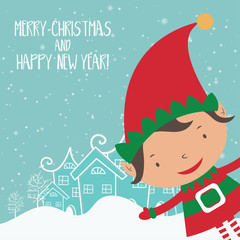 Cartoon illustration for holiday theme with elf  on winter backg