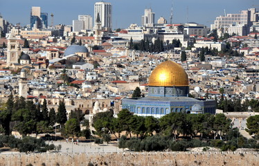 Blick auf den Tempelberg mit Felsendom und Al-Aqsa-Moschee
