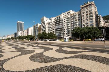 Famous Mosaic Sidewalk of Copacabana with Hotel and Apartment Buildings, Rio de Janeiro