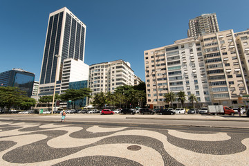 Famous Mosaic Sidewalk of Copacabana with Hotel and Apartment Buildings, Rio de Janeiro