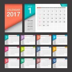 2017 Calendar. Modern design template. Week starts Sunday.
