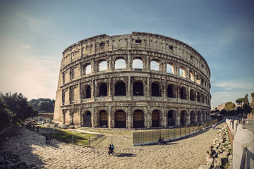 Wide angle view of Colosseum in Rome, Italy, Europe, Vintage filtered style