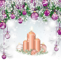Christmas Twigs Purple Baubles Candles