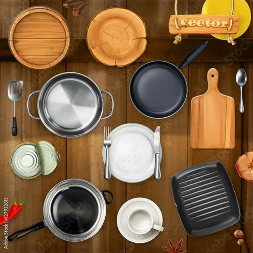"""Kitchen Set Top View: """"Kitchen Utensils. Pots, Pans, Plates. Top View 3d Vector"""