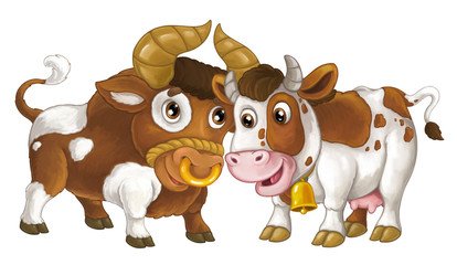Cartoon happy farm animal - cheerful bull and cow are standing smiling and looking on each other - artistic style - isolated - illustration for children