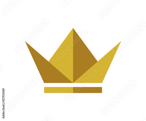 Origami Gold King Crown Hat Icon Logo Design Stock Image And