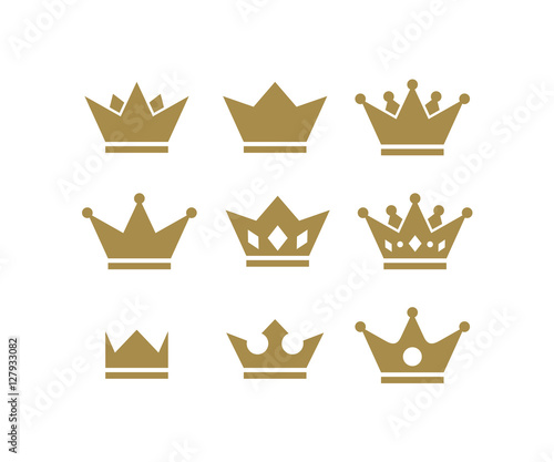 Silhouette King Crown Hat Set Icon Logo Design