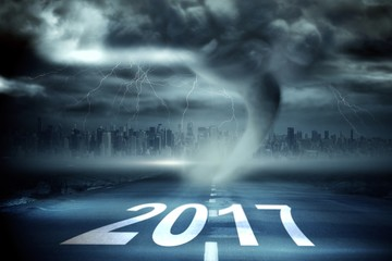 Composite image of happy new year 2017