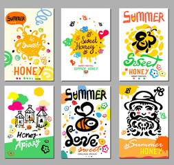 Sweet honey card and illustrations. Sweet honey summer. Pictures handmade on the topic of beekeeping. Natural bee products.