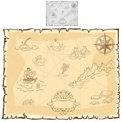 Treasure map on old parchment. Vector
