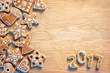 Christmas cookie on wooden background. Top view. Merry Christmas and Happy new year!