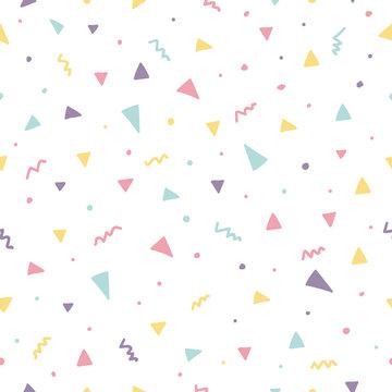 Memphis seamless pattern design with triangle confetti