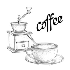 Vintage vector illustration. Coffee grinder. A cup of coffee with a spoon