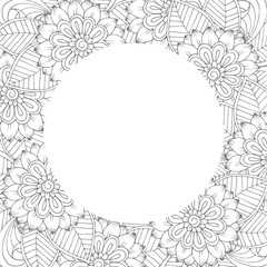 Vector floral frame in black and white. Can use for coloring book and cards design